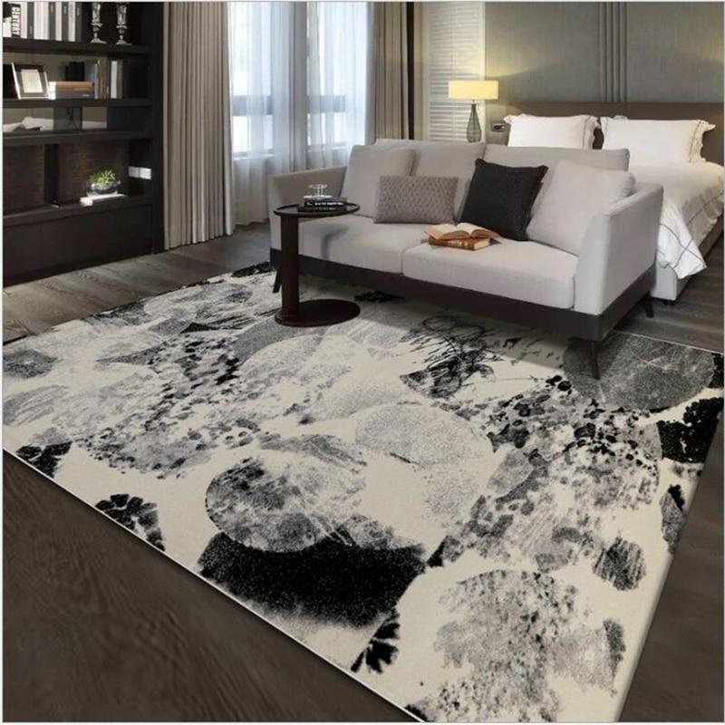 AOVOLL doux grand noir et blanc abstrait tapis et tapis pour la maison salon décoration chambre tapis tapis pour tapis de sol