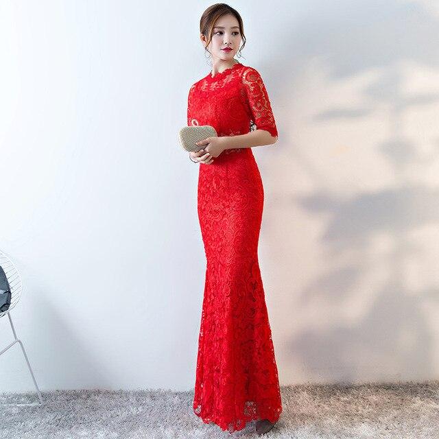 2017 Bride Traditional Chinese Wedding Cheongsam Lace Long Qipao Dress Red  Mermaid Sexy Qi Pao Oriental Clothing Store 79354349728c