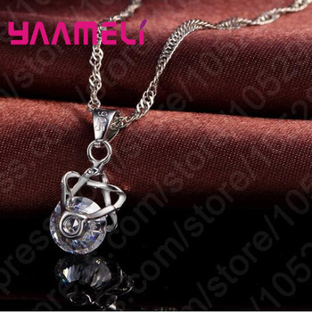 Big Discount Top Quality 925 Sterling Silver Shining CZ Fashionable Necklace Earrings Jewelry Sets For Women Wedding 2