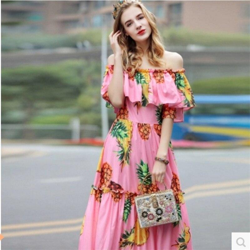 Fête Ananas De L'ukraine Femmes Gamme Maxi Longue Haut Robe 2017 Imprimé Mode D'été Robes pqTwBx4