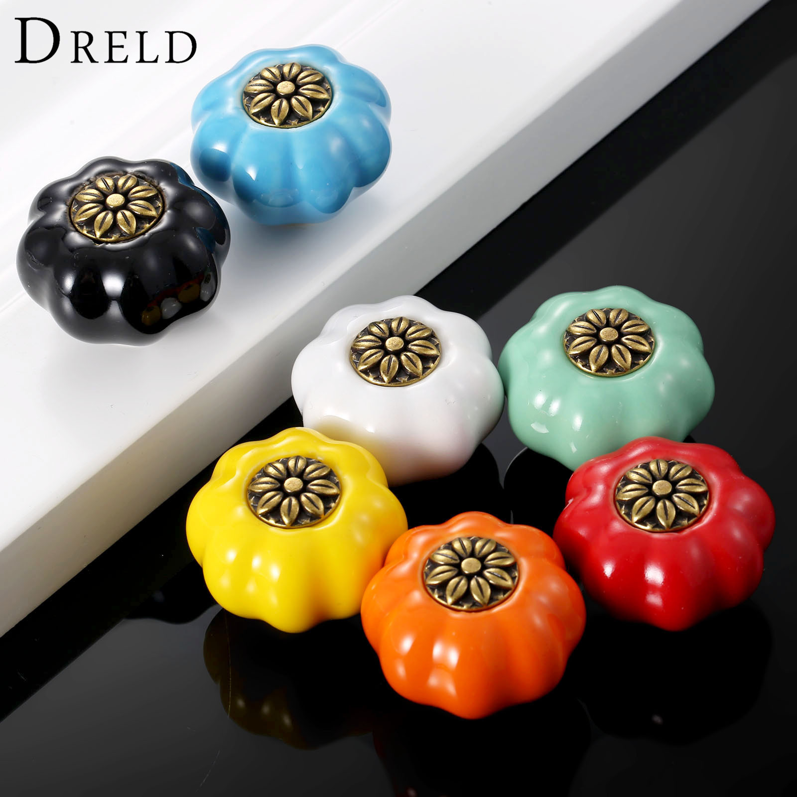 DRELD 7Pc Pumpkin Furniture Handle Door Knob Ceramic Cupboard Drawer Cabinet Knobs and Handles Kitchen Pull Handle for Furniture 2016 ceramic bear furniture knobs kitchen door drawer cupboard wardrobe pull handle cabinet knobs and handles furniture fittings
