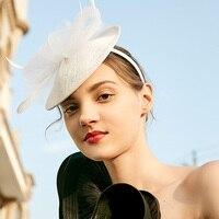 Fedoras Straw Hat Female Summer Business Reception Wedding Banquet Hair Accessories Hat Royal Ascot Sinamay Fascinator Cap H6632