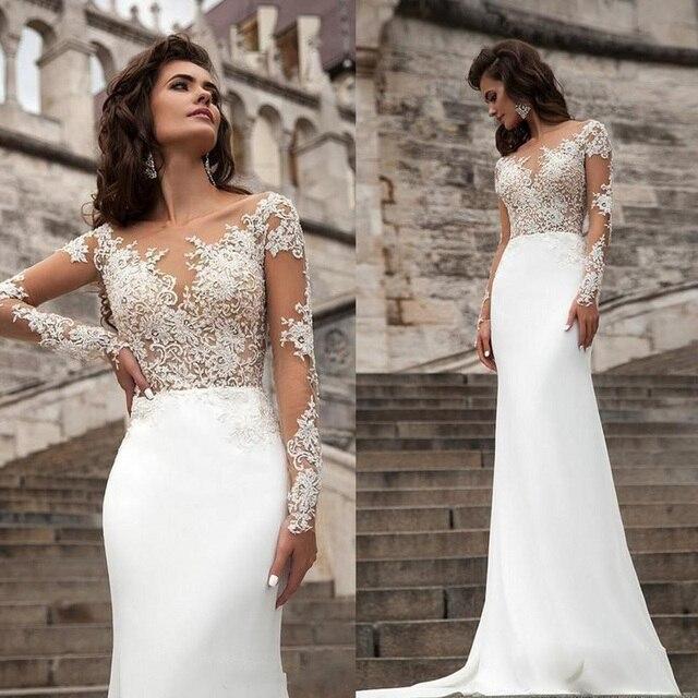 0031a750f13 Sexy Sheer Long Sleeves Lace Wedding Dresses 2017 Millanova Beach Bohemian Wedding  Dress Modern Fashion Mermaid Bridal Gowns
