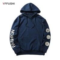 YFFUSHI 2018 Fashion Brand Men Hoodie Sweatshirt Spring Autumn Long Sleeve Men Sweatshirts Casual Patch Hooded