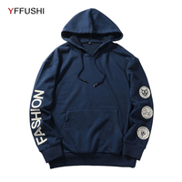YFFUSHI 2018 Fashion Brand Men Hoodie Sweatshirt Spring Autumn Long Sleeve Men Sweatshirts Casual Patch Hooded