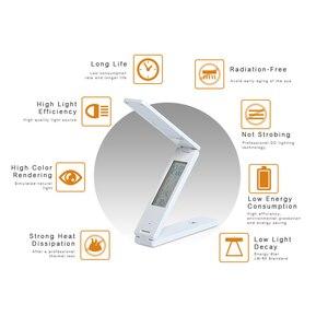 Image 4 - Woodpow LED USB 5Vพับตารางโคมไฟหลอดไฟแบบชาร์จไฟได้นาฬิกาปลุกปฏิทินหนังสือEyeแบบพกพาการเรียนรู้โคมไฟ