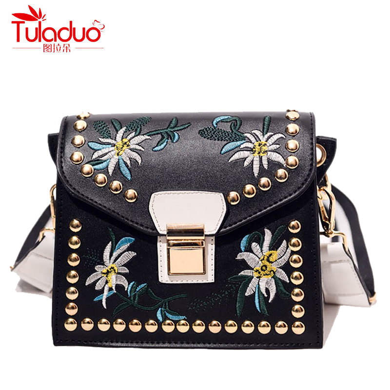 Spring Small Floral Women Crossbody Bags Embroidery Women Shoulder Bags High Quality Leather Ladies Messenger Bag Girl Flap Bags xiyuan brand ladies beautiful and high grade imports pu leather national floral embroidery shoulder crossbody bags for women