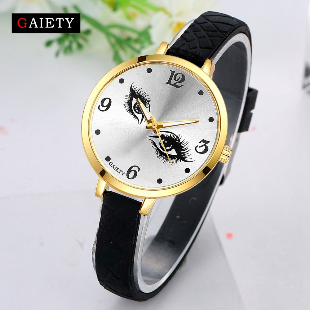 Women Silicone Bracelet Watch Ladies Fashion Gold Women Eye Luxury Sport Quartz Wristwatch Clock Female Vintage Fashion Watch
