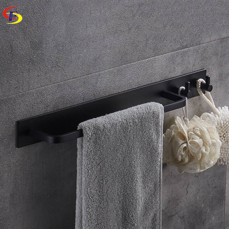 Anju Black/Brushed Aluminum Bathroom Towel Bar With Robe Hook Wall Mounted Bathroom Accessories Towel Rail