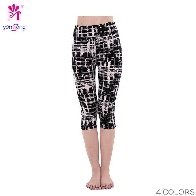 Yomsong Цветочный Печати Капри женские Повседневные Натяжные Брюки Эластичный Обрезанные брюки 368