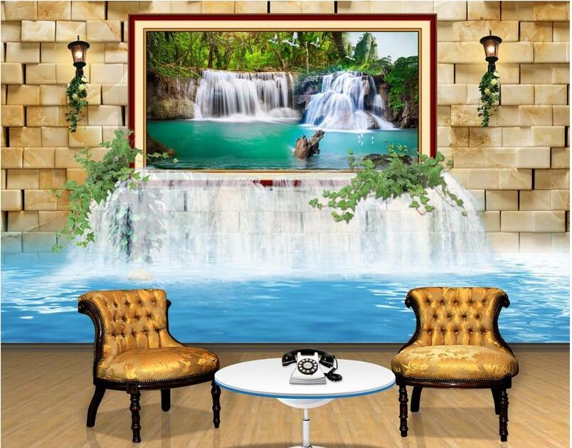 3d обои на заказ настенные нетканые 3d обои для комнаты 3 d росписи водопады живопись фото 3d настенные фрески обои|Обои|   | АлиЭкспресс