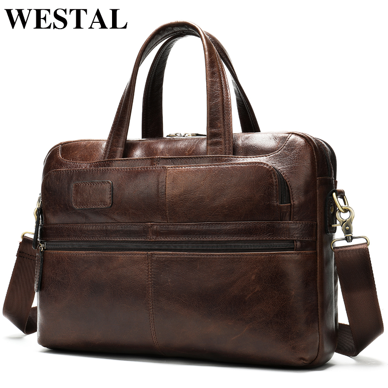 WESTAL Men's Briefcase Bag Men's Genuine Leather Laptop Bag For Document Business Handbag Large Office Travel Bag For Men 8321
