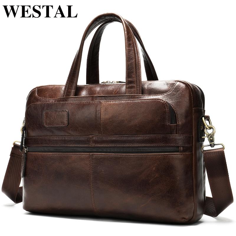 WESTAL Men's Briefcase Bag Men's Genuine Leather Laptop Bag For Document Business Handbag Large Office Travel Bag For Men 8321