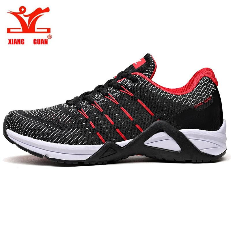 XIANG GUAN nouveaux hommes course sneaker style de vie homme fitness chaussures sport tricoté vamp respirant maille trekking marche noir rouge
