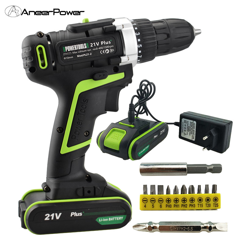 21v Plus Drill Battery Drill Batteries Electric Screwdriver Power Tools Mini Drilling Cordless Screwdriver Electric Drill Mini 21v power tools double speed hand electric drill cordless drill battery drill electric screwdriver mini drilling 45 n m torque