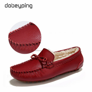 Image 3 - Winter Fur Women Loafers Slip on Leather Ladies Flats Warm Plush Driving Boat Shoes Woman Moccasins New Casual Female Solid Shoe