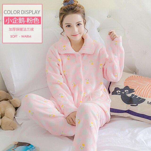 comprare popolare 3bf66 625d0 US $37.66 |Donne Flannel Pajamas Set Big Size XXL Pigiami Caldi di Inverno  Pigiama Homewear Donna Dolce Flanella Corallo Del Panno Morbido Pigiama Set  ...