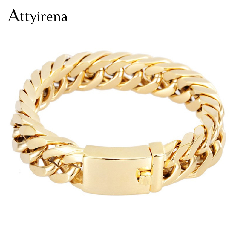 Glossy Gold Color 316L Stainless Steel Link Chain Bracelet Men 14MM Wide Mens Bracelets & Bangles Handle Fashion Male Jewelry