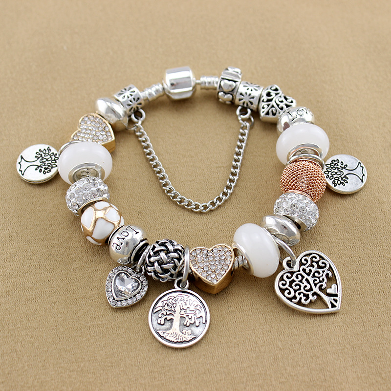 YILIANFEI The Tree of Life Pendant Loving Heart White Crystal Glass Beads Charm Bracelets Bangles For