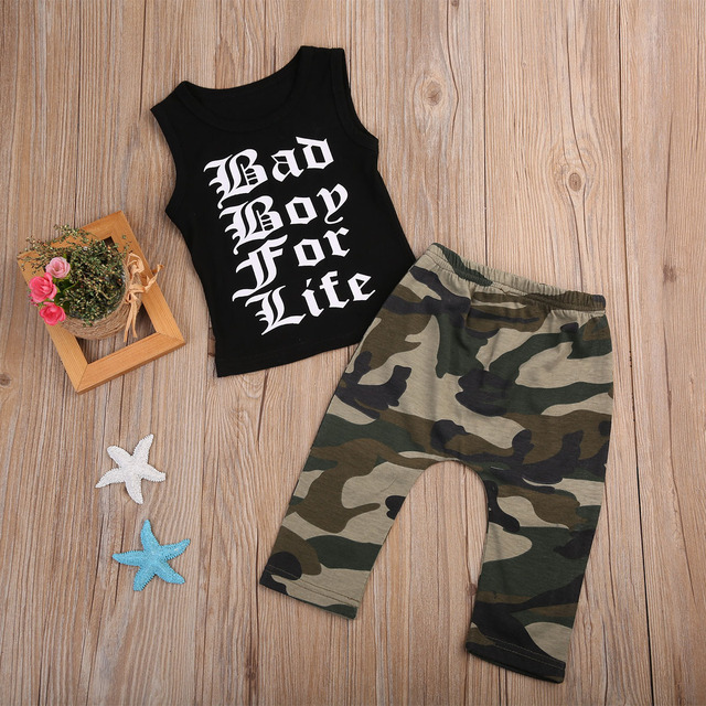 140689904 Toddler Baby Kids Boys Camouflage Outfits Clothes Cotton Sleeveless Vest T-shirt  Tops Pants Clothes Summer Letter print Clothing