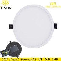 T-SUNRISE 10 sztuk Ultra Cienki Panel LED Downlight 8 W 16 W 24 W okrągła Wpuszczana Światła Kryty Oświetlenie LED lampy na suficie oprawy oświetleniowe