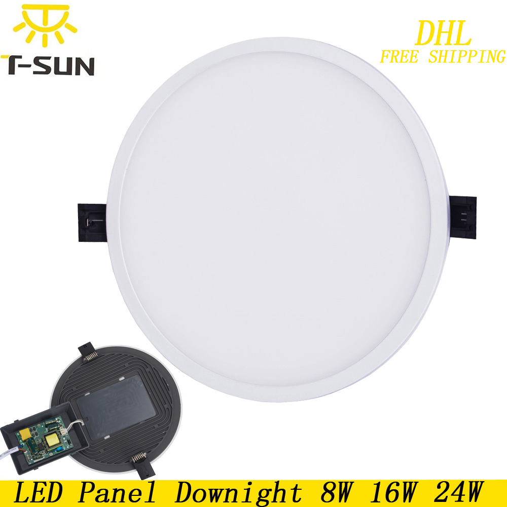 T-SUNRISE 10pcs Ultra Thin LED Panel Downlight 8W 16W 24W Round Recessed Light Indoor Lighting LED lamp on the ceiling Fixtures dhl ship 18w surface mounted led downlight round panel light smd ultra thin circle ceiling down lamp kitchen bathroom lamp