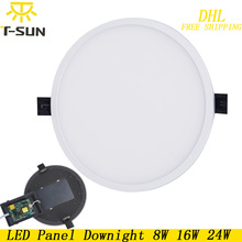 T-SUNRISE 10pcs Ultra Thin LED Panel Downlight 8W 16W 24W Round Recessed Light Indoor Lighting LED lamp on the ceiling Fixtures