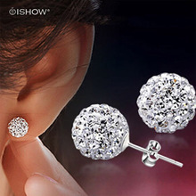 Brand Fashion stud Earrings Piercing Bijoux Mix Color Micro Disco Ball Earring Studs Clay CZ Crystal