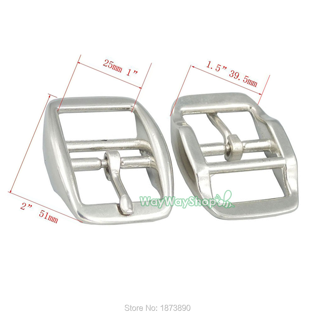 """1/"""" 25mm Double Bar Buckle Nickle Dog Collar leather Buckles Die Cast Belt Strap"""