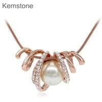 Kemstone уникальный крем кристаллы имитация жемчужницы цепи Цепочки и ожерелья из розового золота для Для женщин
