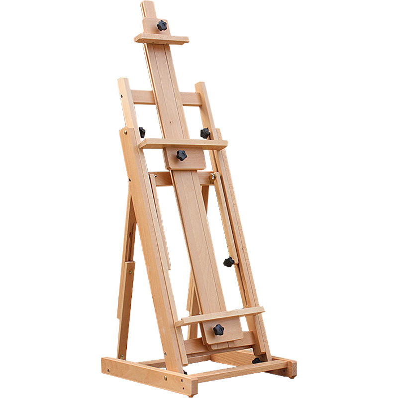 Red Beech Wooden Oil Painting Easel Exhibition Stand Frame Lie Down Painting Easel Poster Display Painting