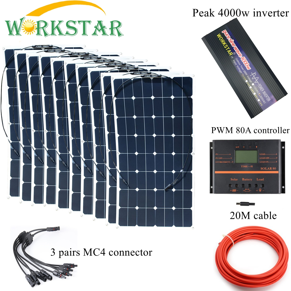 10*100W Sunpower Flexible Solar Panels with 80A Controller and 4000W Inverter Complete 1000W Off Grid solar System Kit 6pcs 100w flexible solar modules 400w vertical wind generator with 4000w inverter and controllers 1000w wind solar power system