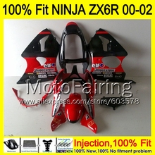 8Gifts Injection mold Body For KAWASAKI NINJA ZX-6R 00-02 1HM27 ZX 6R ZX6R 00 01 02 ZX636 636 2000 2001 2002 Fairing red black