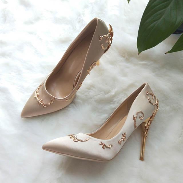 clearance prices classic cheaper US $30.99 50% OFF Teahoo Luxury Brand Women Pumps Pointed Toe Flower Heel  Wedding Shoes Women Elegant Silk Brand Design High Heels Ladies Pumps-in ...