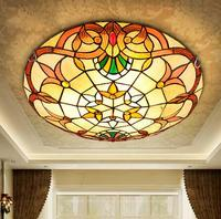 European Baroque Tiffany stained glass Ceiling Light Pastoral Round Glass Lampshade lamparas de techo abajur 110 240V