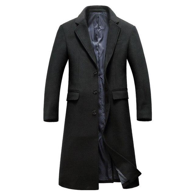 Men's Wool Long Coat Winter...