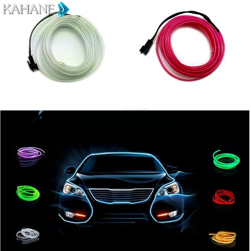 Car Interior EL Wire Line Glow Light Strip Dashboard Door Decals for ...