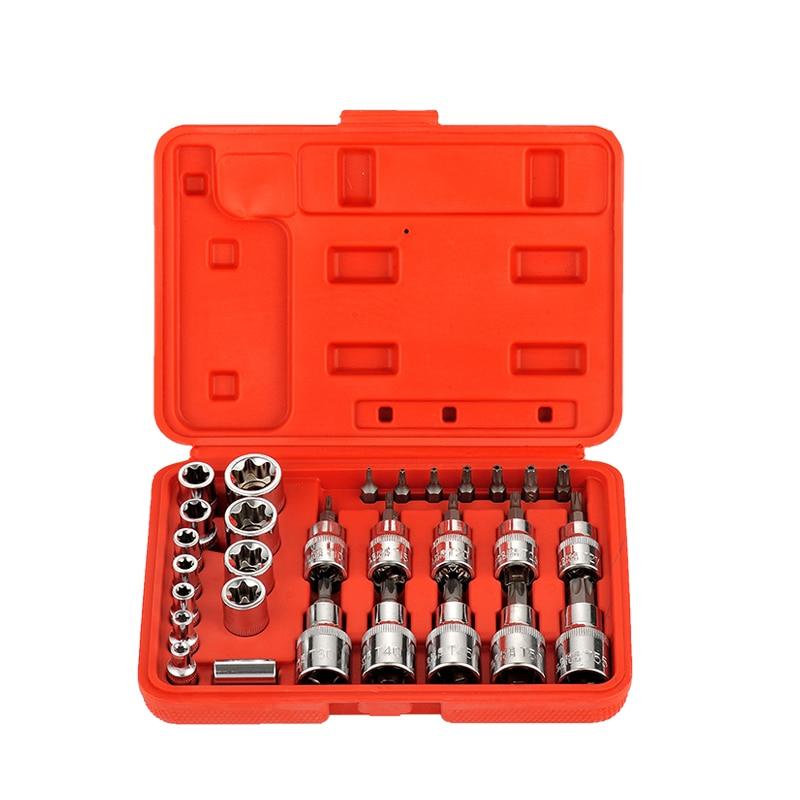 Male Female Torx Star Socket /& Bit Set// 30pcs E /& T Sockets with Torx Bits 6-19