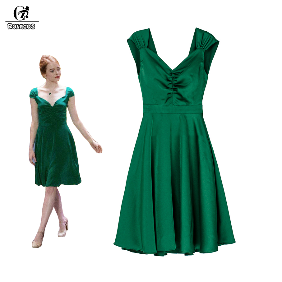 rolecos la la land emma stone mia cosplay costume green. Black Bedroom Furniture Sets. Home Design Ideas