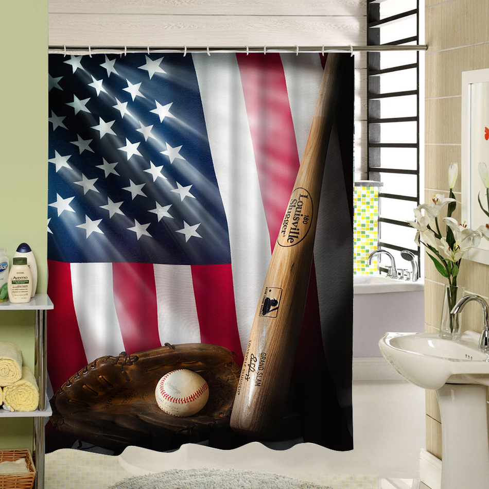 Wet Room Shower Curtains >> Us 14 11 Polyester Fabric Waterproof Mildewproof Shower Curtain American Flag Bathroom Curtains For Wet Room Long Drop Easy To Clean In Shower