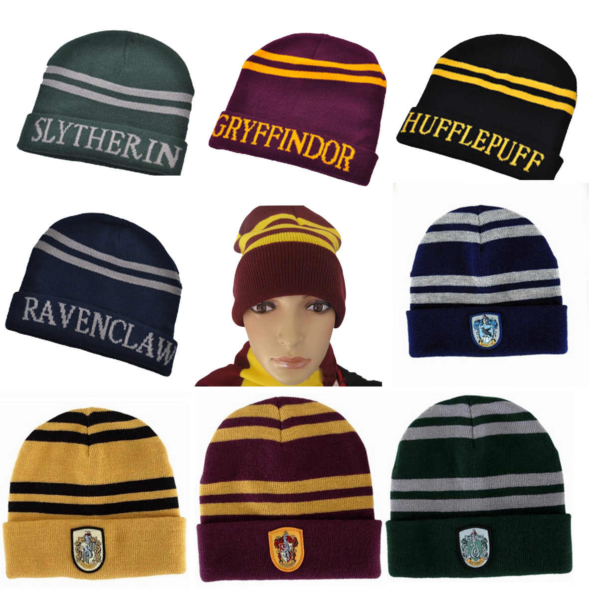 Harri Potter Hogwarts Four College Cosplay Toys Gryffindor Hufflepuff  Ravenclaw Slytherin Knitted Hat Earmuffs Cap Winter a182836d6df0