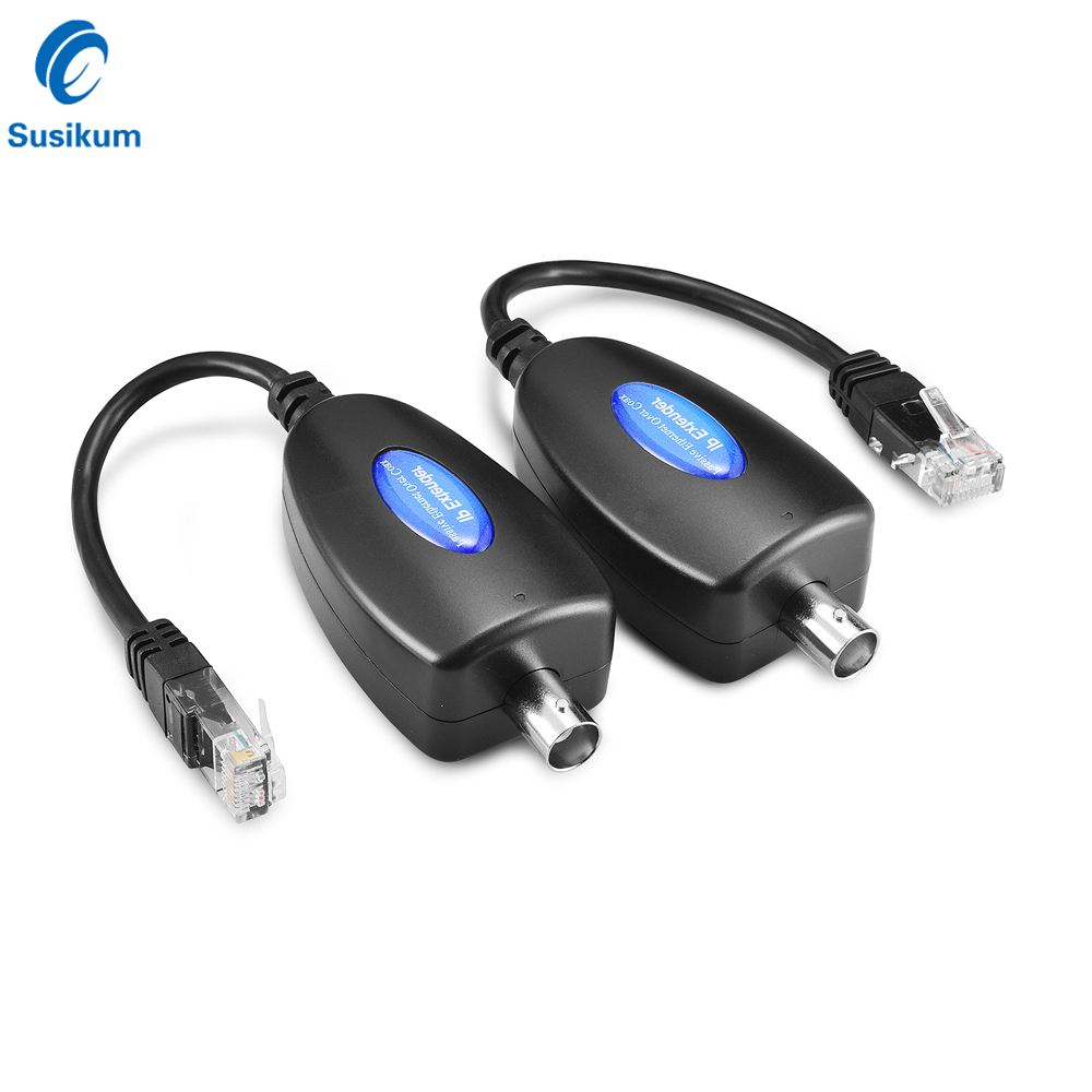 2Pairs 4Pieces 1-CH Passive IP Extender Over Coax Transmit Network Signal Over Coaxial Cable At 100Mbps For IP Cameras