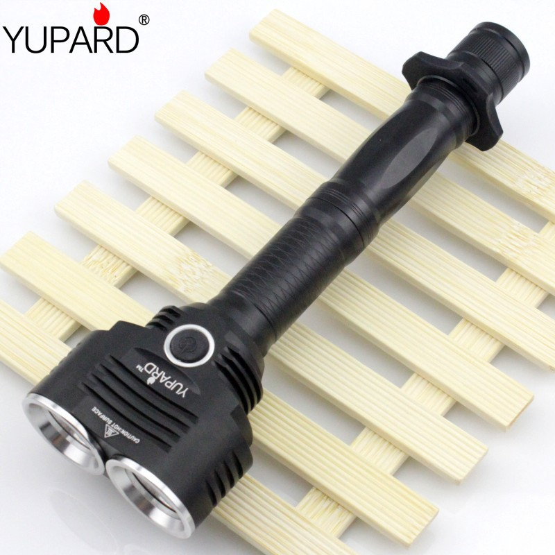 YUPARD 2 * XM-L T6 LED Φακός Φακός φακού 5modes Επαναφορτιζόμενη μπαταρία 18650 Μακρινές λήψεις Σούπερ φωτεινή τακτική εξωτερική