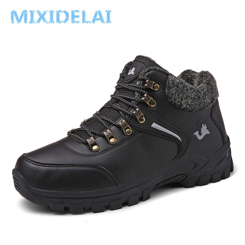 5be35b189b Melhor MIXIDELAI Plus Size Homens Botas de Inverno Quente Botas de Neve Com  Pele Botas Homens Tornozelo Sapatos de Trabalho Homens Da Moda de Calçados  de ...