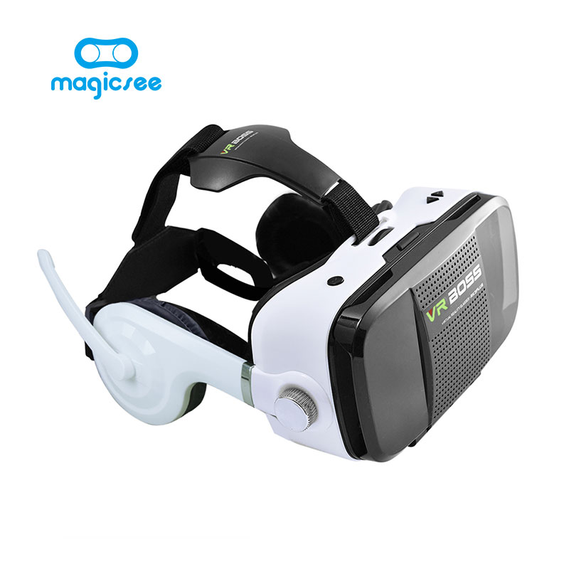 2017 New VR BOSS 3D Glasses Virtual Reality VR Headset + Microphone Google Cardboard FOV120 for 4~6.3″Android iOS Smartphones