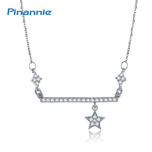 Pinannie Silver Rose Gold Color Star Charms Pendant Necklace