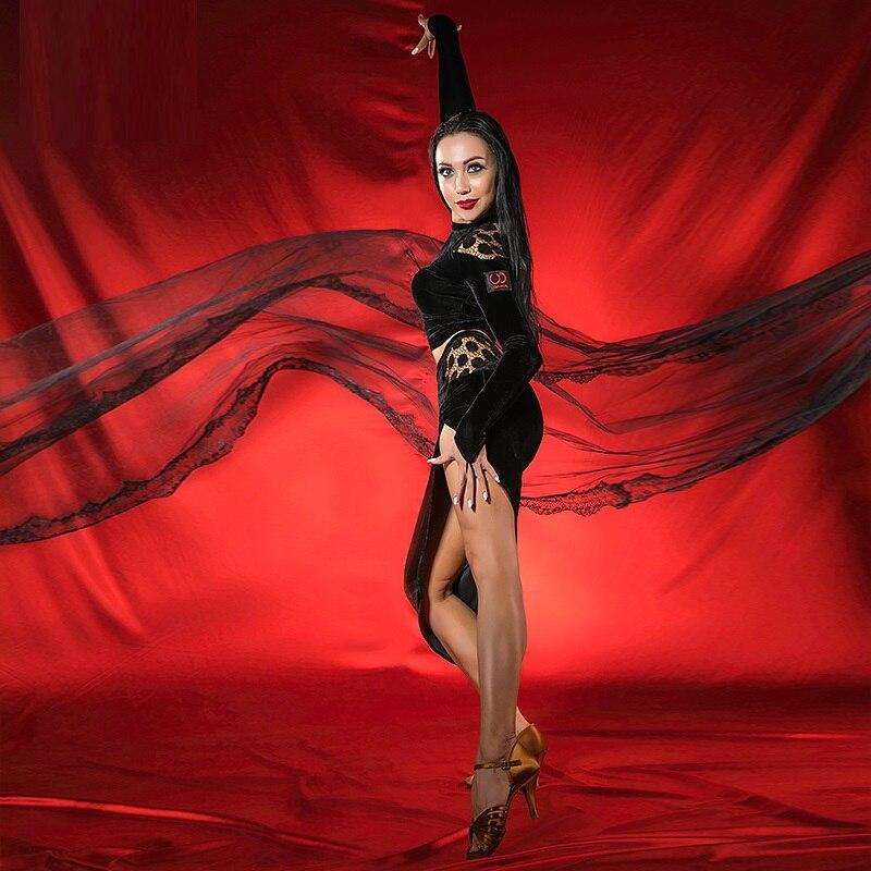 Salsa noire robes latines léopard robes de style latin jupe latine et top femmes robes de danse latine à vendre vêtements de danse rumba
