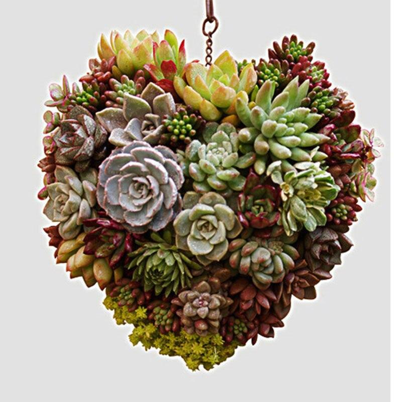 Metal Hanging Plant Basket 3D Heart Shape Succulent Flower Pot Home Decor Plant Wreath Flower Pots Garden ArtT2