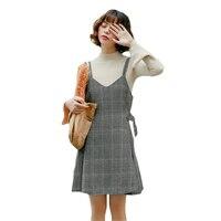 2018 Spring New Dress Women Vintage Sleeveless Lattice Woolen Vest Dress Female Autumn Winter Sundress Camisole