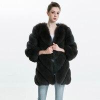 Women Real Fur Coat Women Long Jacket Genuine Fox Fur Winter Jacket 2018 Retail / Wholesale Ladies Natural Fox Fut Coat Female